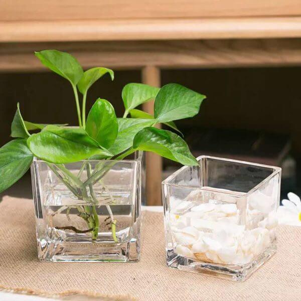 AP36Square glass vase 12cm