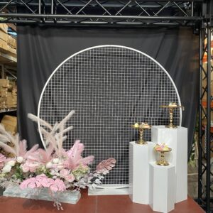 AI46A 2m stand round mesh backdrop,colors: white black, pink, blue