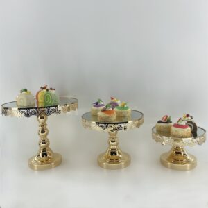 AI209  Cake display single level set 3 Golden & Silver