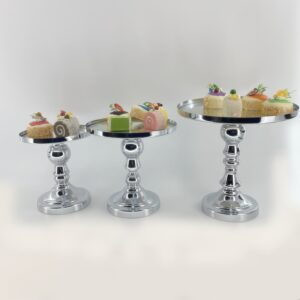 AI217 Cake display set of 3 - Golden and silver