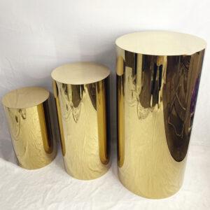 AI40A Metal Silver/Golden Round plinth set of 3